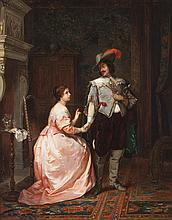 Herman Maurice Cossmann, French (1821-1890), Formal interior with couple holding hands, oil on panel, 25 1/2 x 21 inches