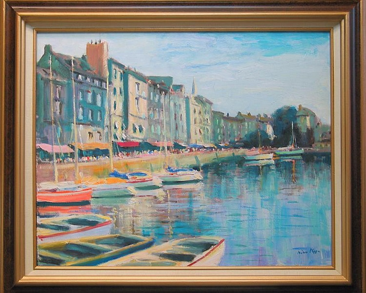 Nino Pippa, Italian (b. 1950), Honfleur, France, oil on board, 16 x 20 inches