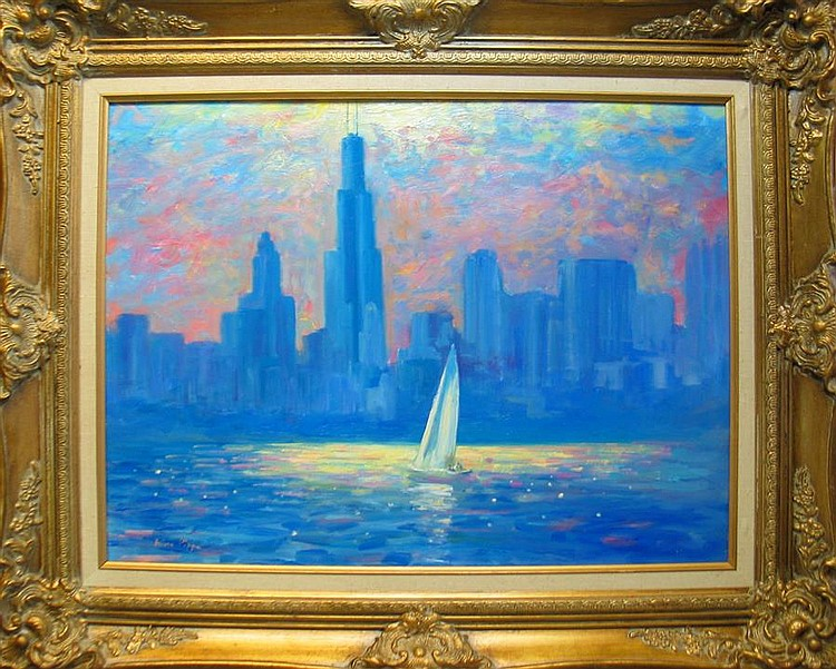 Nino Pippa, Italian (b. 1950), If Monet Could Have Painted Lake Michigan, oil on board, 18 x 24 inches