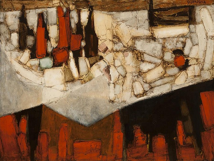 Anthony Scornavacca, American (1926-1986), Still life with bottles on a table, oil on masonite, 36 x 48 inches