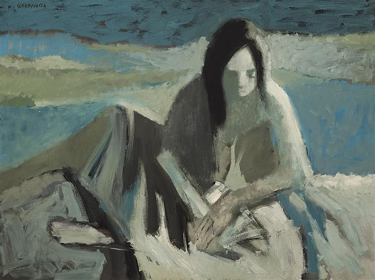 Anthony Scornavacca, (1926-1986), Seated female figure, blue landscape, oil on masonite, 36 x 48 inches