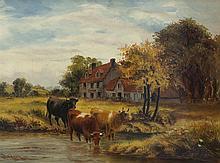 Dixon Clark, British (1849-1944), Cows watering, 1898, oil on canvas,