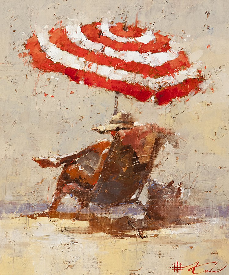 Andre Kohn, American (b. 1972), Alone time, 2010, oil on canvas board, 13 x 11 inches