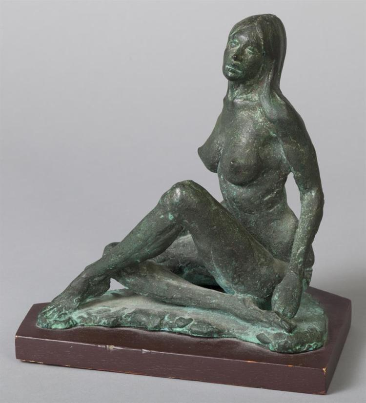 Julius Damasday, Canadian/Hungarian, b.1937, LAST SUMMER, green patinated bronze sculpture, 9 1/4 x 8 5/8 x 6 3/4 inches.