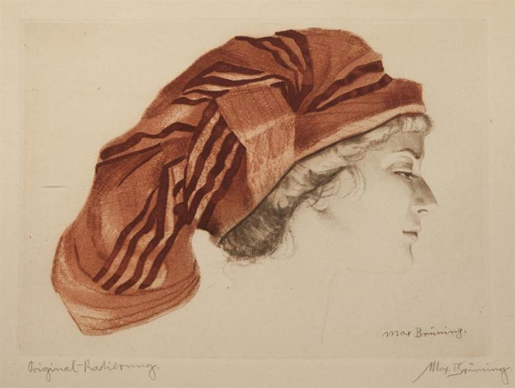 Max Brunning, German (1887-1968), Portrait of a woman wearing a head dress, color etching, 8 x 11 inches