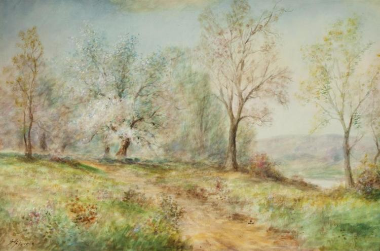 George H. Flavelle, American (1868-1945), Spring landscape, watercolor on paper, 19 1/2 x 29 1/2 inches