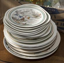 Seventeen transferware French collector plates