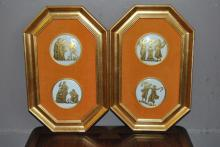 Pair of gilt frames, each containing two porcelain decorative plaques with neoclassical scenes, mounted on orange velvet fabric, hei...