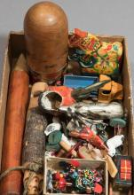 Collection of mostly carved wood miniature toys, birds, horses, nesting dolls, small metal car and stag