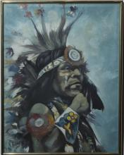 Framed painting a Native American chief - 28 x 22 inches