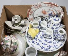Collection of assorted items including plates with an Asian motif, porcelain, and more
