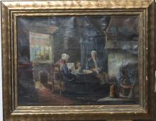 J, K. Coynstrum, early 20th century, Interior scene with man and woman, oil on canvas,