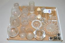 Collection of crystal including Edinburgh crystal toothpick holders, three vases, three brandy snifters, two Victorian knife rests, ...
