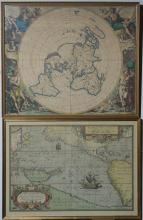 Two framed reproductions of early maps.
