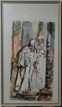 20th century, American, Abstract portrait of a nun, oil on board, 24 x 12 1/2 inches