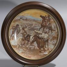 Framd Charles Russell plate entitled,