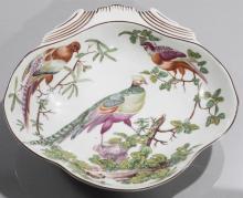 Mottahedeh porcelain, Williamsburg reproduction shell-form dish, hand colored exotic birds