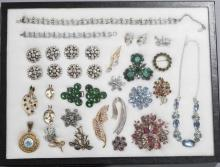 Collection of twenty-two pieces of Costume Jewelry including pieces by Lisner, Coro Craft, Napier, and others; Necklaces, brooches, ...