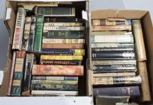 Two boxes of mid-century hardbound works of mostly fiction, with dustjackets, many first edition.