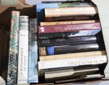 Large group of oversized art books covering Italian Renaissance; European Palaces; French interior design and more.