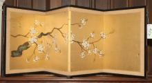 Asian hand painted silk folding screen with flowering branch on gilt background.