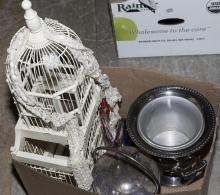 Collection of items including an art glass swan, bird cage, plated silver ice bucket, and champagne cooler