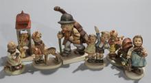 Group of seven Hummel figurines: Doll Mother; Friends; Girl with Basket; Busy Student; Bell Tower; Boy with Cello; and saying goodby...