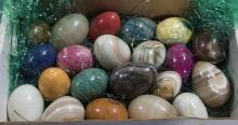 Collection of twenty-one mineral egg specimen