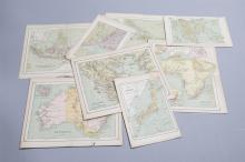 Collection of nine unframed hand colored maps circa 1880-1900