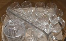 Assorted glassware including 13 wine glasses, covered compote dish, and a serving tray