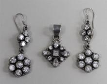 Sterling Silver Suite: Pendant and Matching Earrings
