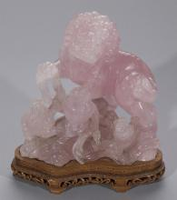 Chinese Carved Rose Quartz Foo Lion