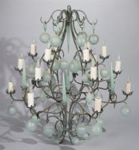 Italian Design Metal and Blown Glass Chandelier