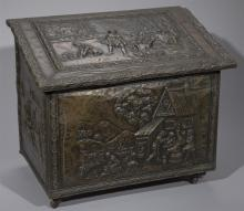 Dutch Repousse Brass Over Wood Firewood Box