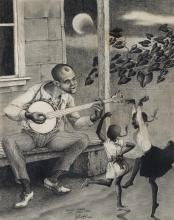 Robert O. Biggs, American (1920-1984), Banjo Player and Small Fry, 1964, charcoal and graphite on paper, 18 1/4 x 14 1/2 inches (sig...