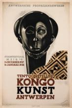 Jean van Noten, (1903-1982), Kongo Kunst, Antwerpen, 1937, color lithographic poster, published by Fr. De Smet, Antwerpen, 33 x 22 i...