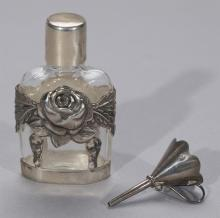 English Victorian Sterling Silver Mounted Glass Perfume Bottle and Funnel