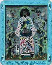 Tony Fitzpatrick, American (b. 1958), The Mother of Birds, mixed media on slate, 10 x 8 inches