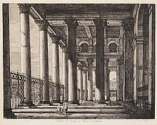 Luigi Rossini, Italian (1790-1857), Veduta del Interno del Pronao del Pantheon, 1820, etching,