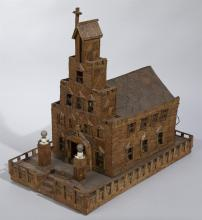 Vintage Folk Art Matchstick Church