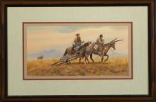 Austin Deuel, Arizona (b. 1939), Native Americans on Horseback, gouache, 7 3/4 x 15 3/4 inches