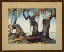 Clara Stroud, Louisiana/New Jersey (1890-1984), Spanish Moss, watercolor on paper, 17 x 23 1/2 inches