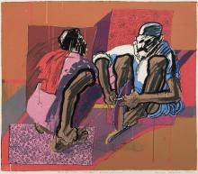 William Kohn, American (1931-2004), Knife Sharpener, 1965, color lithograph, ed. 3/11, 22 x 25 1/2 inches