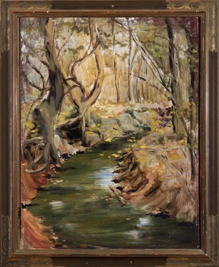Olive Boone Culp, Missouri/Iowa (1897-1961), Creek in the woods, oil on board, 23 x 18 inches
