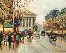 Antoine Blanchard, French (1910-1988), Parisian street scene, oil on canvas, 16 x 20 inches