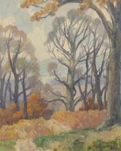 Frank Bernard Nuderscher, American (1880-1959), Autumn Landscape, oil on board, 16 1/2 x 13 1/2 inches