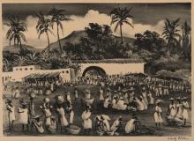 Adolph Dehn, American (1895-1968), Market in Haiti, lithograph, 9 1/2 x 13 1/2 inches