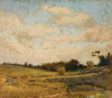 Gustav Goetsch, American (1877-1969), Landscape with foreground figure, oil on board, 13 1/2 x 15 1/2 inches