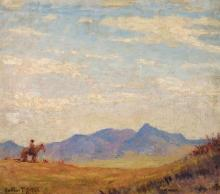 Gustav Goetsch, American (1877-1969), Horse and rider in landscape, oil on board, 14 x 16 inches