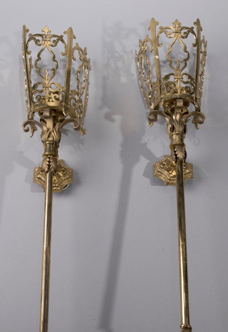 Pair of Large Cast Brass Three Light Wall Sconce Torcheres